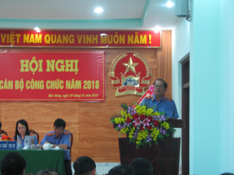 Đ/c Trần Quang Khải  - Viện trưởng VKSND tỉnh phát biểu chỉ đạo tại Hội nghị
